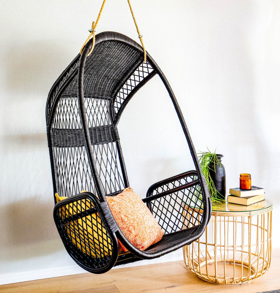 Black Rattan Hanging Chair | Hanging Chairs | Haus of Rattan